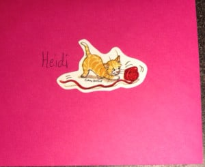 card from mom with cat sticker