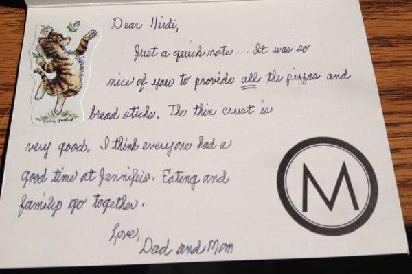 Eating and family go together - a thank you note from Mom
