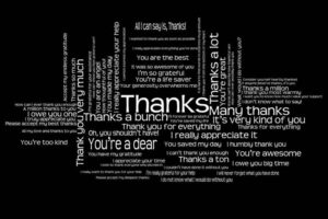 thank you note wording word cloud