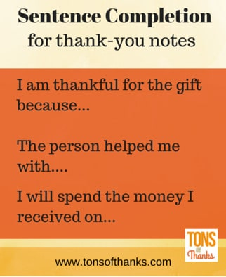Sentence completion exercises for thank-you note writing