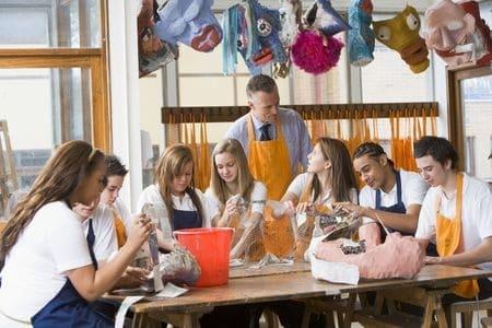 Teacher with teenagers