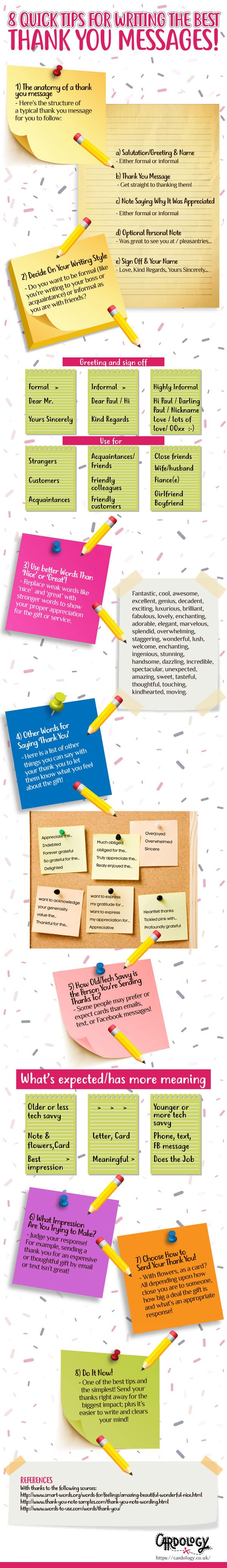 8 thank you note tips infographic
