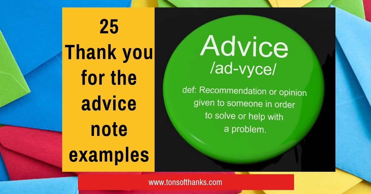25 Thank you for the advice note examples