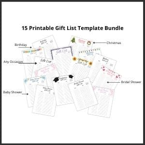 Image showing mini pictures of 15 printable gift list templates.