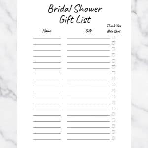 Bridal Shower Gift List Template. Basic Black and White Design. There are three columns: Name, Gift, and Thank you note sent.
