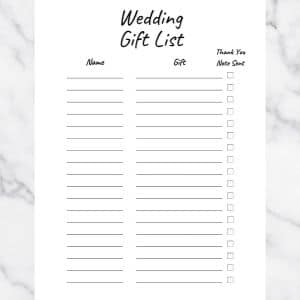 Wedding Gift List Template. Basic Black and White Design. There are three columns: Name, Gift, and Thank you note sent.