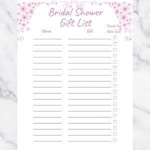 Bridal Shower Gift List Template with Pink Flowers and Pink Text. There are three columns: Name, Gift, and Thank you note sent.