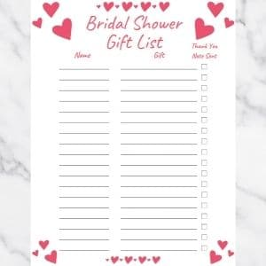 Bridal Shower Gift List Template with Pink Hearts and Pink Text. There are three columns: Name, Gift, and Thank you note sent.