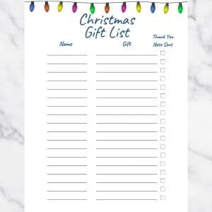 Christmas List Template with a line of Christmas lights at the top of the page. There are three columns: Name, Gift, and Thank you note sent.