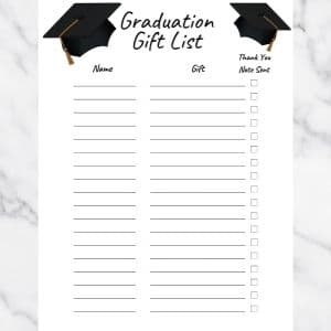 Graduation Gift List Template with graduation hats and black text. There are three columns: Name, Gift, and Thank you note sent.
