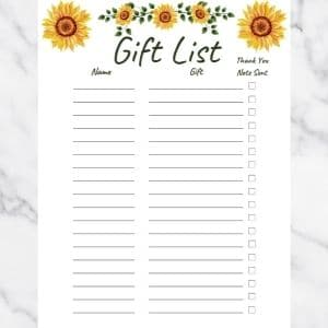 Gift List Template with sunflowers and green text. There are three columns: Name, Gift, and Thank you note sent.