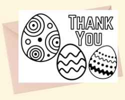 Thank You Card with text Thank You at the top right and 3 Easter eggs. This card can be printed and colored.