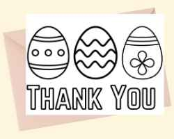 Thank You Card with text Thank You at the bottom and 3 Easter eggs. This card can be printed and colored.