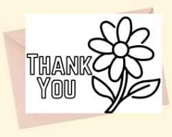 Thank You Card with text Thank You a flower to the right of the text. This card can be printed and colored.