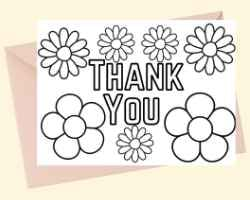 Thank You Card with text Thank You with flowers around it. This card can be printed and colored.