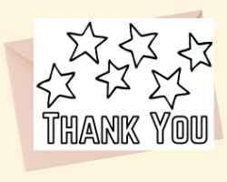Thank You Card with text Thank You at the bottom. Above thank you there are several stars. This card can be printed and colored.