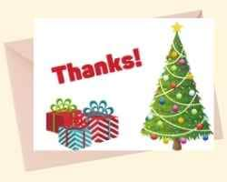 Image showing the front of a printable card with Thanks! on the top left. Under that are tree presents. On the right is a decorated Christmas tree.