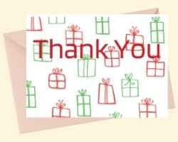 Image showing the front of a printable card with Thank You in red on top of a background of red and green present boxes.