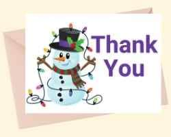 Image showing the front of a printable card with Thank You in in purple on the right and a snowman with a strand of lights on the left.
