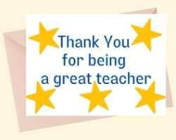 Image showing the front of a printable card with Thank You for being a great teacher stacked in the middle with stars around the text.