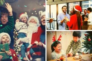 3 photos of people at Christmas parties.