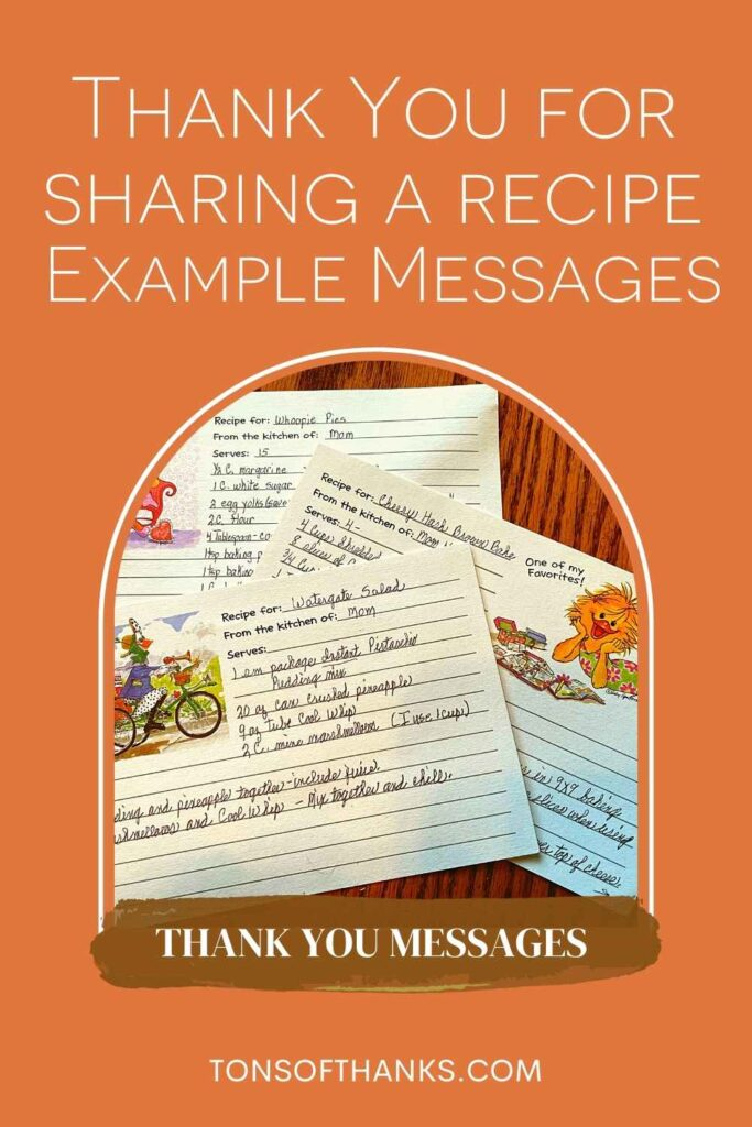 """A stack of recipe cards in the center. With the words """"Thank you for Sharing A recipe Example Messages"""" at the top, above the image"""